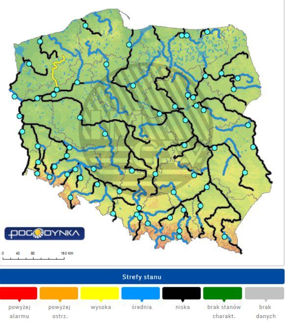 Stan wody w rzekach na godzinę 6 rano