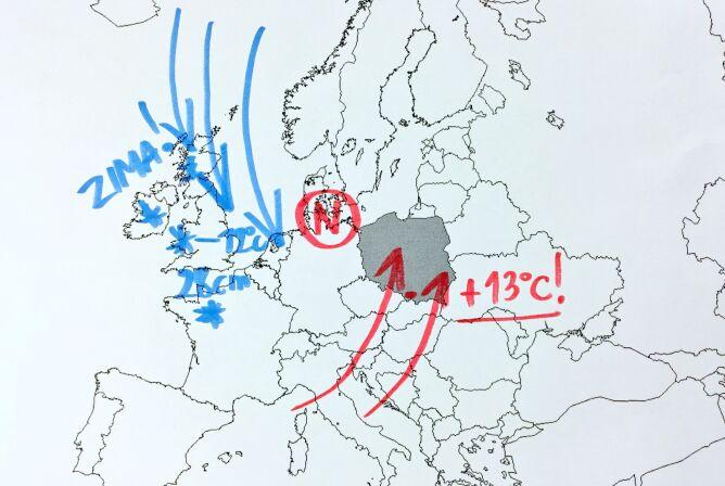 Niż ma wpływ na pogodę w Europie