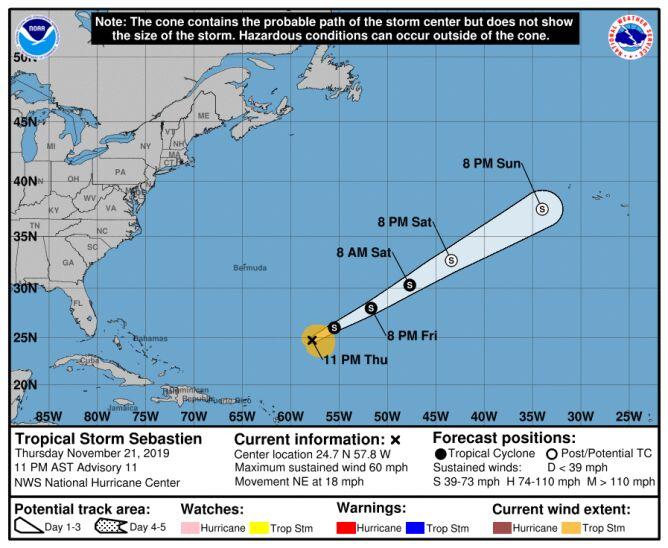 Prognozowana trasa przejścia bruzy tropikalnej Sebastien (NOAA)
