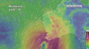 Prognozowana trasa przechodzenia burzy u wybrzeży Australii Zachodniej (Ventusky.com)